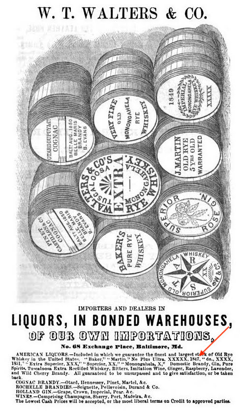 DeBow's Review, 1859, with typical barrel graphic of W.T. Walters & Co. but text includes a mention of 1847 when listing whiskeys in stock