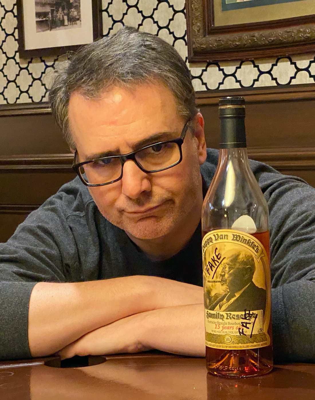 Screenwriter Adam Herz is irritated by fake bourbon.