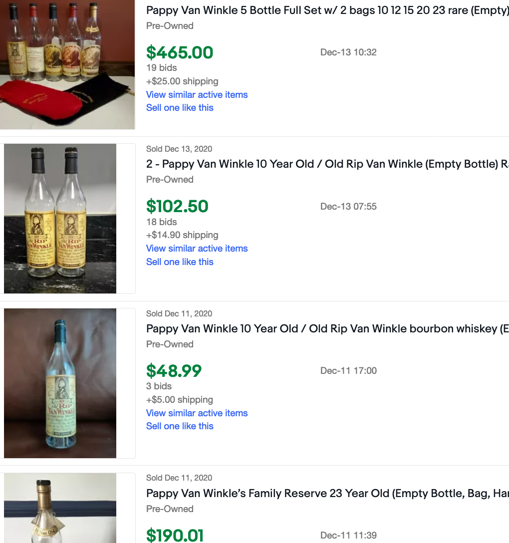 A screenshot of empty Pappy Van Winkle bottles sold on ebay