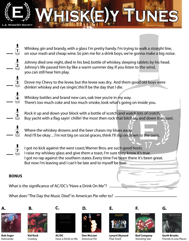 A graphics file containing a quiz on famous songs that mention whiskey.