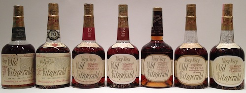 Lineup of many Very Old Fitzgerald, VXO Very Xtra Old Fitzgerald, Very Very Old Fitzgerald, all Stitzel Weller distillery.