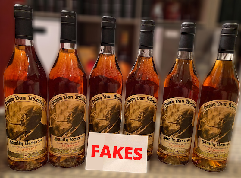 A lineup up six fake Pappy Van Winkle 15 year bourbons.