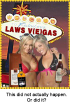 Girls holding whisky bottles in front of the Las Vegas sign.