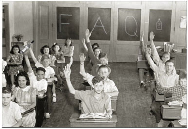 Kids in a classroom raising hands to ask whiskey questions.