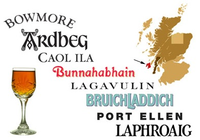 Islay whisky distilleries listed in an image with a glass of sherry and map of Scotland, pointing out the island of Islay.