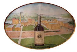 View of Broad Ford distillery circa 1907 with Old Overholt bottle